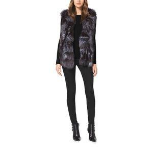 Michael Kors Silver Black Fox Fur Vest